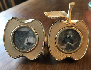 """1960s Ted Arnold Solid Brass Apple Picture Frame. Cameo Style 1.5""""x1.5"""" Photos"""