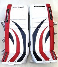 "New Powertek Barikad goalie leg pads Sr 34""+1 blue/red senior ice hockey goal"