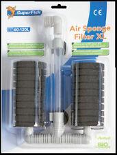 Filtro de aire Superfish Grande Doble Esponja Filtro Acuario de Camarón Fry seguro XL