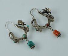 Musi Hunt Sterling Coral Turquoise Vintage Hoop Dangle Earrings Silver