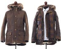 Women's BARBOUR Kelsall Wax Waxed Jacket Coat Hooded Parka Brown Size UK 12 US 8