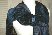 Panache Handwoven,Handpainted,$250 Black,Silver,Blue,Fringed,Chenille Scarf