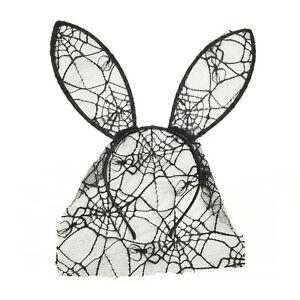 Halloween headband with lace & net bunny ears in black (S729C)