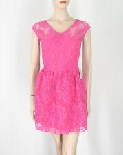 Aqua Lace V Neck Dress Fuchsia Hot Pink S $118 9448 BM12