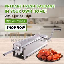 Hakka Horizontal 15lb 7l Sausage Stuffer Stainless Steel Manual Meat Filler