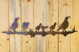 Iron Quail Family | Metal Wall Art ~ Rusted Southwest Sonoran Desert Cute Gifts