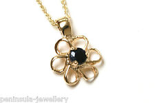 """9ct Gold Sapphire Daisy Pendant and 18"""" Chain Made in UK Gift Boxed"""