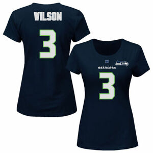 Russell Wilson #3 Seattle Seahawks Ladies Jersey Style T-shirt 4XL Plus Size NFL