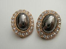 ORECCHINI A CLIP METALLO DORATO OVALE PIETRA GRIGIA STRASS vintage earrings- J4