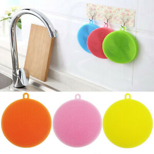 Kitchen Supplies Cleaning Brushes Silicone Dish Bowl Scouring Pads Pot Cleaner