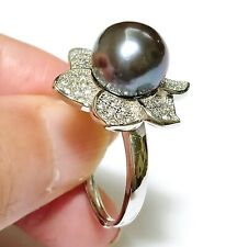 Charming Edison Round Cultured 10.5mm Natural Purple Gray Pearl Ring Size 7 - 8