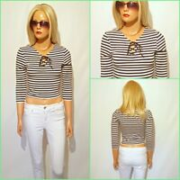 P4 EX TOPSHOP WOMEN`S NAVY WHITE STRIPPED CROPPED TIE FRONT TOP SIZE UK 8