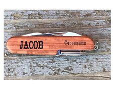 2  Personalized Pocket Knife Groomsman Groomsmen Gift Best Man Custom Wood