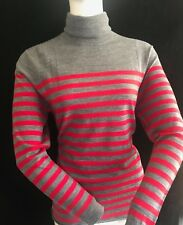 BNWT LACOSTE Ladies Extra Fine Merino Wool Polo Neck StripeJumper. Size 40 UK 12