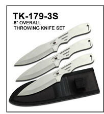 "3PC 8""Tactical Silver Throwing Knife Set w/ Sheath Case-1793S"