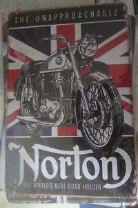 norton motor bike tin metal sign MAN CAVE brand new