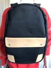 Venque Classic Black Tan Quanta Fabric Genuine Leather Backpack Laptop Storage