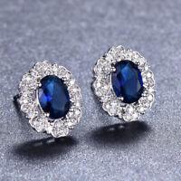 Gorgeous Shiny Woman Swiss Blue Fire Topaz Gemstone Silver Stud Hook Earrings