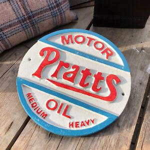 Vintage White Cast Iron Wall Art Gate Door Sign Plaque Pratts Motor Petrol Oil