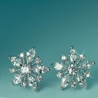 18k white gold filled made with swarovski crystal earrings flower snowflake stud
