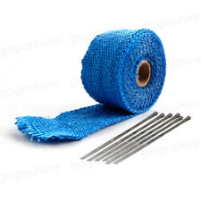 4.5m Blue Car Motorcycle Exhaust Pipe Header Heat Wrap Resistant Downpipe+ 6 Tie