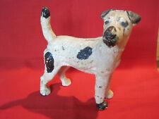 Cast iron antique Hubley Fox Terrier dog doorstop, original paint