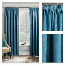 Matrix Woven Textured Blockout/Thermal Fully Lined Pencil Pleat Curtains Teal