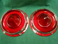 NEW 1957 FORD TAIL LIGHT LENSES WITH RETAINERS PAIR - FAIRLANE RANCHERO T-BIRD