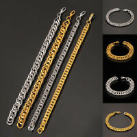 Charm Men`s Gold Silver Stainless Steel Plated Bracelet Wristband Chain Bangle