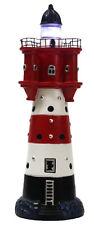 Leuchtturm Roter Sand Dekoration für den Garten am Teich mit Licht 34 cm Deko