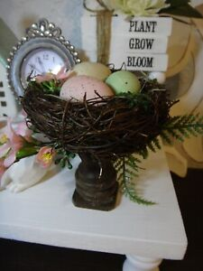 Bird nest candle stick Spring Farmhouse style Handmade Tiered Tray Decor