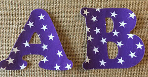Purple with White Stars Iron On Letters & Numbers