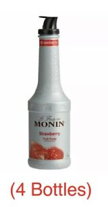 Monin 1 Liter Strawberry Fruit Puree 33.8 oz  (lot Of 4)