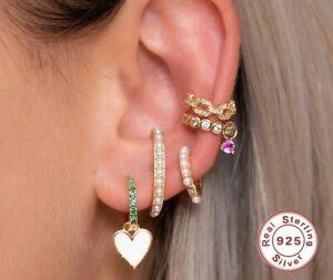 925, Silver, Ladies, Earrings, Studs, Ear Clips, Chain, Chain, Helix, Clips