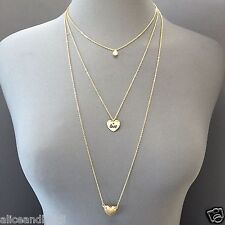 Dainty Gold Finish Triple Layered Chain Heart Love Pearl Pendants Necklace