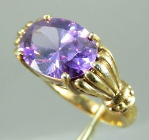 14K YELLOW GOLD Over Sterling SIM.PURPLE AMETHYST CZ RING East/West CLAW SET 7.5