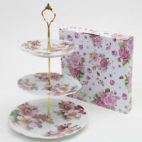 VINTAGE FLORAL CAKE STAND 3 TIER CUPCAKE WEDDING PLATE ANEMONE SANDWICHES TEA