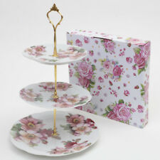 3 Tier Vintage Floral Ceramic Cake Stand Cupcake Wedding Plate Anemone