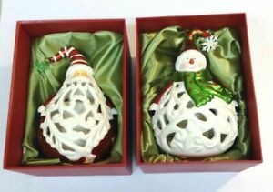 Christmas Decor SANTA and SNOWMAN Flameless Candle Luminary W/ Timer In Gift Box