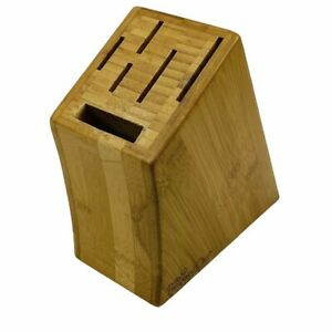 Pampered Chef Knife Block 6 Slot Storage Bamboo Wood Brown #0611 w/ Feet