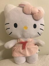 """Hello Kitty White Cat Plush Toy ~ Pink Sailor Girl Dress w/ Hat 14"""" Tall"""