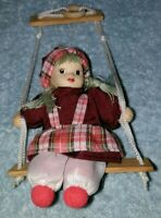Vintage Porcelain Face  Doll On A Swing
