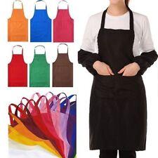 Mode Hommes Femmes Solide Cuisson Cuisine Restaurant Tablier Robe avec poche