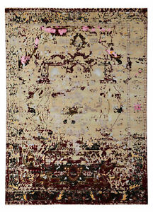 "Arabesque Heriz 5'7"" x 7'10"" Hand Knotted Orienta Parsian Silk & Wool Area Rugs"