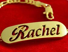 Nome Braccialetto Rachel 18CT Oro placcato MOTHER'S DAY Personalizzata Gioielli Regalo
