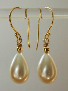 Vintage 1940s Large Pale Cream Glass Pearl Tear Drops & Gold Vermeil Earrings