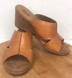 """Clark's Collections Slide Sandal Wedge Cork Size 10 M Comfort Tan 3"""" Heel"""