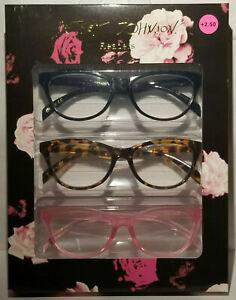 New 3 Pair Betsey Johnson Readers Reading Glasses Black Tortoise Pink 2.50