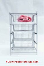 NEW 4 Drawer Wire Basket Storage Rack Stand Tower White & Grey  RRP $245
