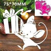 Stanzschablone Cutting dies Weihnachten Maus Geschenk Schablonen Craft DIY Album